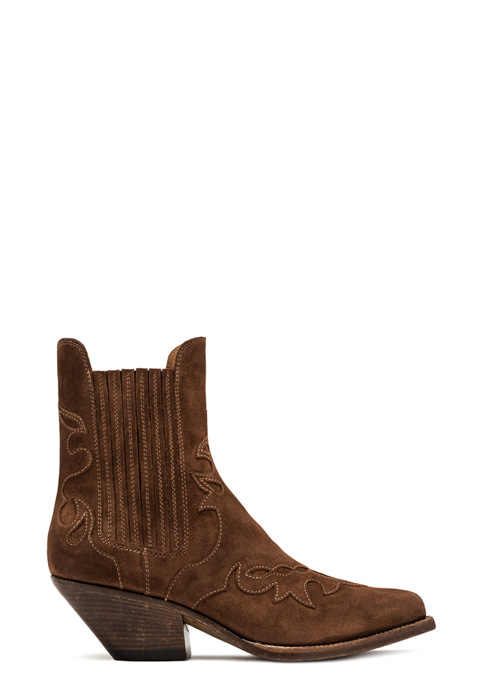 BUTTERO: ELISE LO WHEEL DURANGO BOOTS IN FOX SUEDE (B8608LIG-DC1/54)