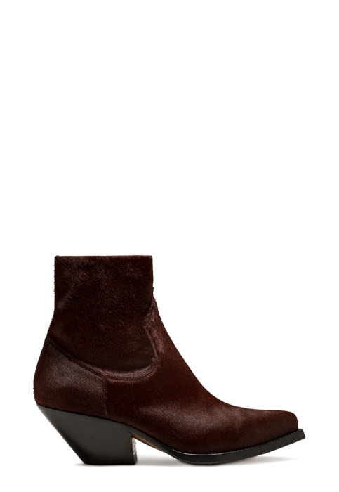 BUTTERO: ELISE TEXANO LOW BOOT IN BURGUNDY PONY SKIN (B9200CAVKE-DC1/10)