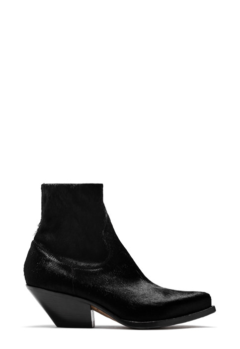 BUTTERO: ELISE DURANGO BOOTS IN STRETCH PONY SKIN COLOR BLACK