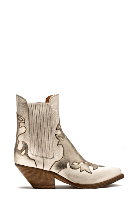 BUTTERO: LOW HEEL ELISE DURANGO BOOTS IN USED-EFFECT CREAM WHITE LEATHER WITH INLAYS (B8608VARB-DC1/B)