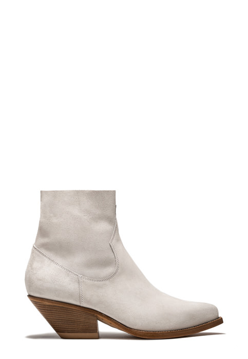 BUTTERO: ELISE LOW HEEL DURANGO BOOTS IN WHITE SUEDE (B8900LIG-DC1/100)