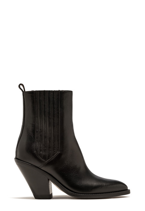 BUTTERO: LOW JANE BOOT IN BLACK LEATHER (B9210ODEM-DC1/01)