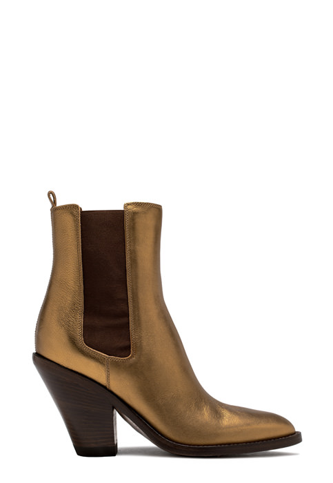 BUTTERO: JANE ANKLE BOOTS IN GOLD TONE LAMINATED LEATHER (B8610BIB-DC1/10)