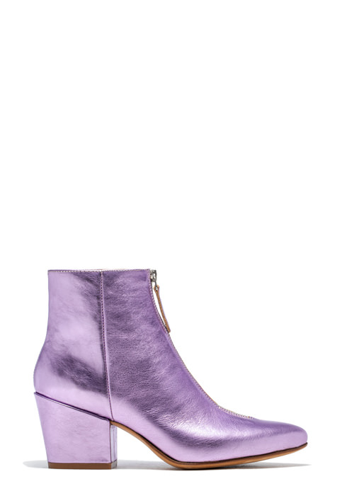 BUTTERO: PINK LAMINATED LEATHER JOSELINE BOOTS
