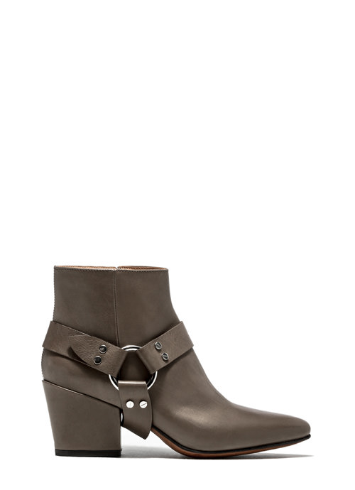 BUTTERO: TAUPE LEATHER JOSELINE BOOTS