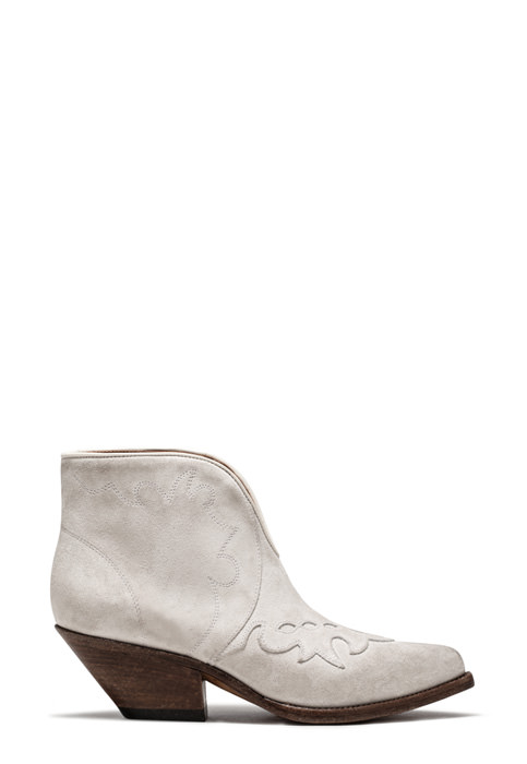 BUTTERO: ELISE LOW TOP DURANGO BOOTS IN WHITE SUEDE