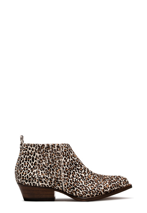 BUTTERO: WHITE PONY HAIR TRES LOW TOP DURANGO BOOTS WITH LEOPARD PATTERN