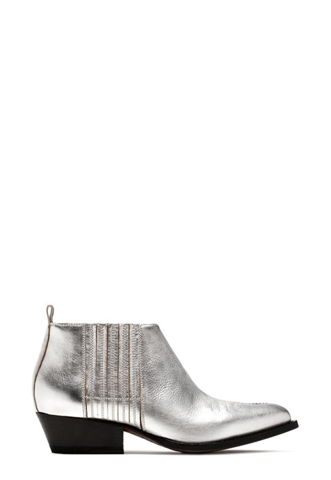 BUTTERO: TRES DURANGO BOOTS IN LAMINATED LEATHER COLOR SILVER