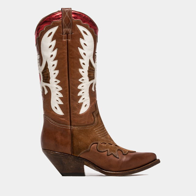 BUTTERO: COPPER ELISE DURANGO BOOTS WITH INLAYS