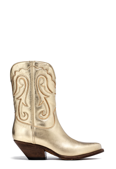 BUTTERO: ELISE MID TOP DURANGO BOOTS IN PLATINUM LAMINATED LEATHER