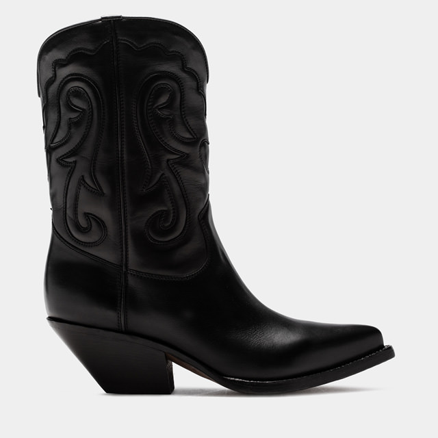 BUTTERO: ELISE MID TOP DURANGO BOOTS IN BLACK LEATHER (B8325DELF-DC1/01)