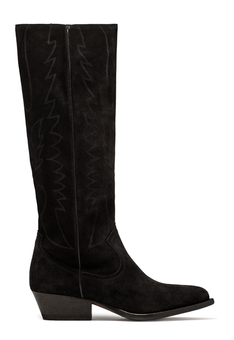 BUTTERO: TRES KNEE HIGH DURANGO BOOTS IN BLACK SUEDE (B8623LIG-DC1/01)