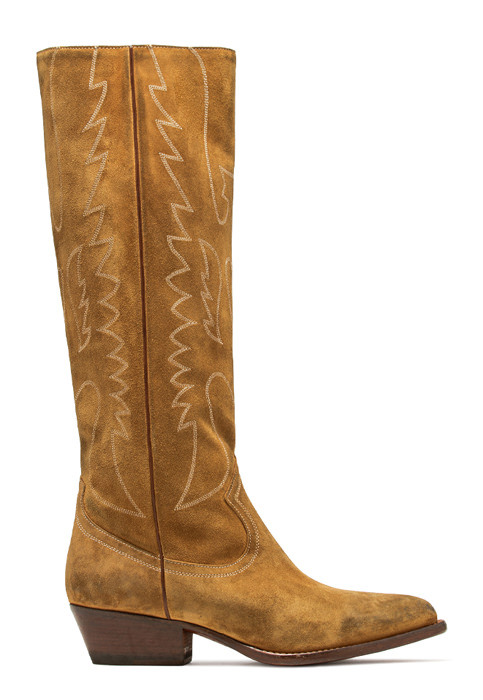 BUTTERO: TRES KNEE HIGH DURANGO BOOTS IN COPPER SUEDE (B8623LIG-DC1/13)