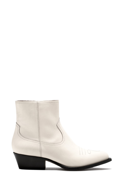 BUTTERO: TRES DURANGO BOOTS IN WHITE LEATHER (B8620HIB-DC1/02)