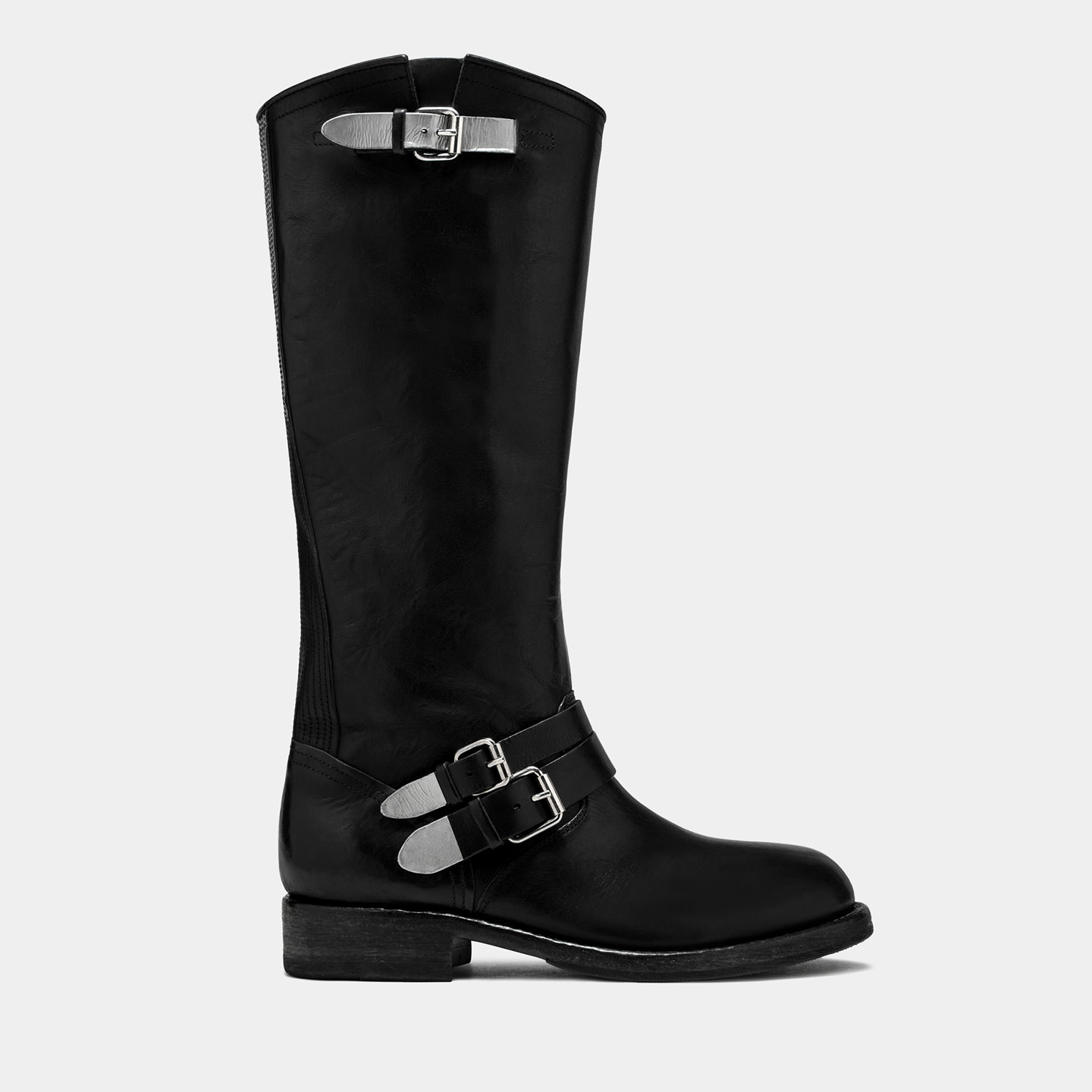 BUTTERO: LOU KNEE HIGH BIKER BOOTS IN BLACK LEATHER