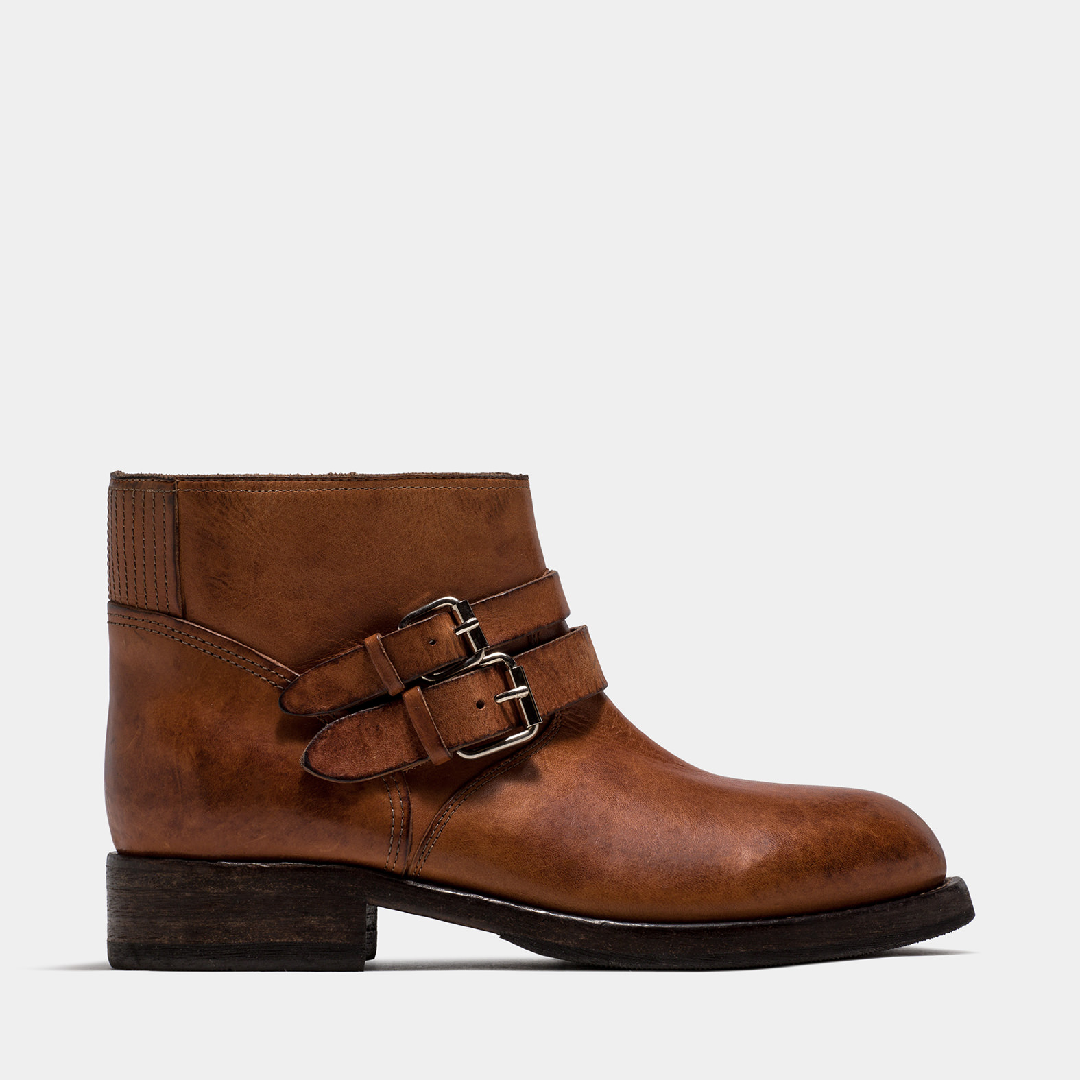 BUTTERO: LOU BIKER ANKLE BOOTS IN NATURAL BROWN LEATHER