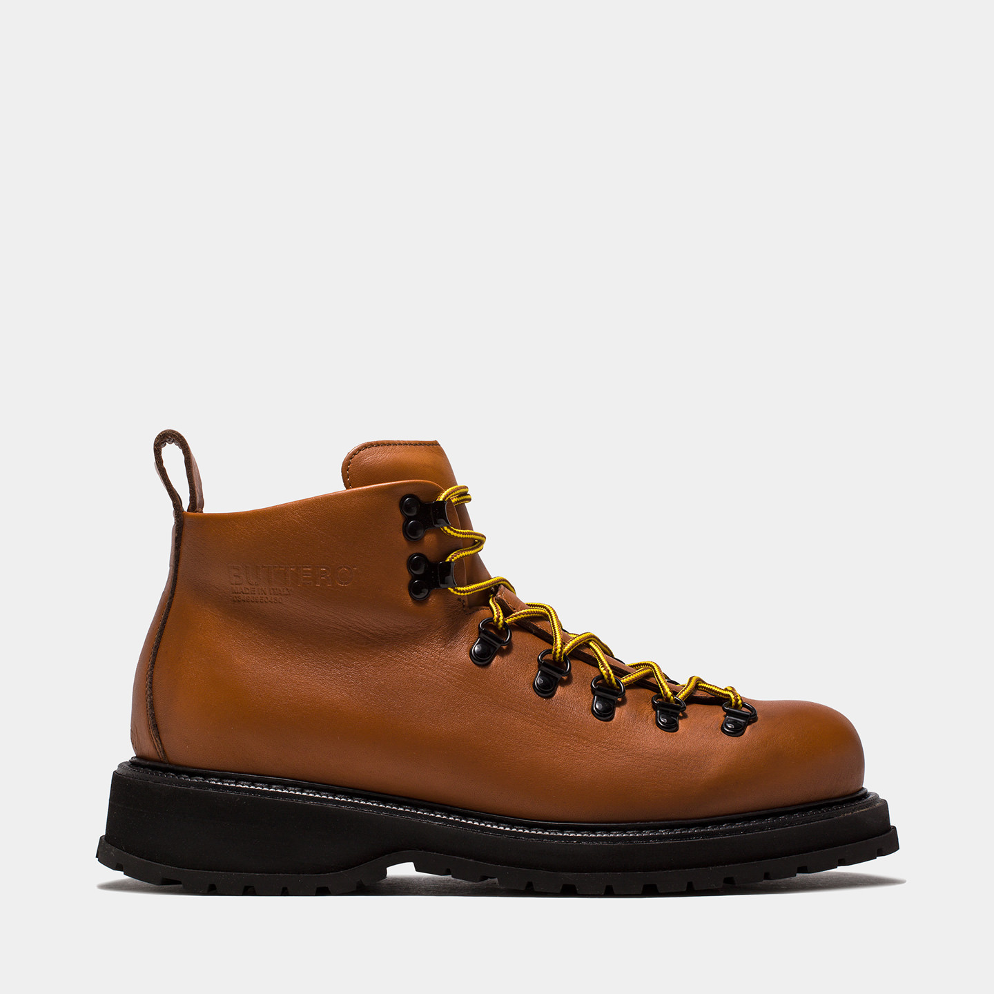 BUTTERO: ZENO HIKING BOOTS IN NATURAL BROWN PULL EFFECT LEATHER