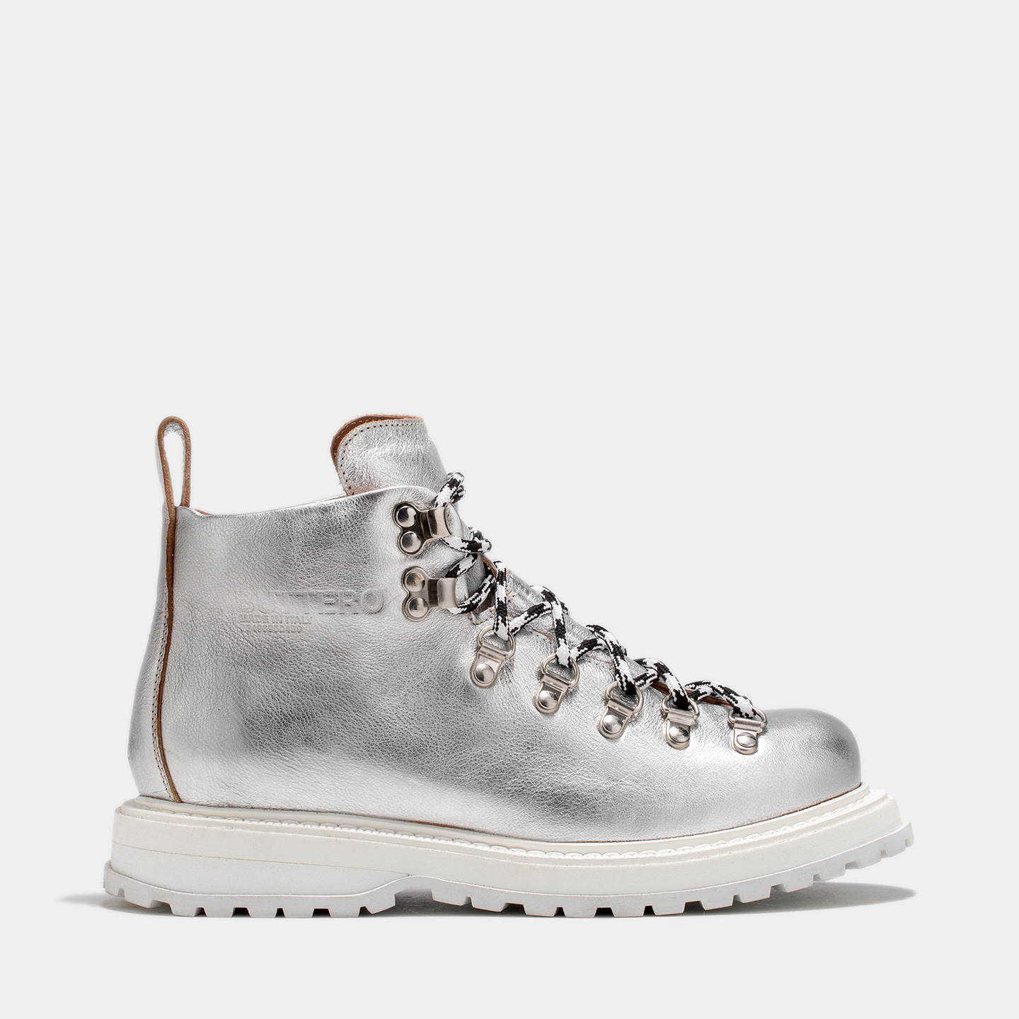 BUTTERO: ZENO HIKING BOOTS IN SILVER TONE LAMINATED LEATHER
