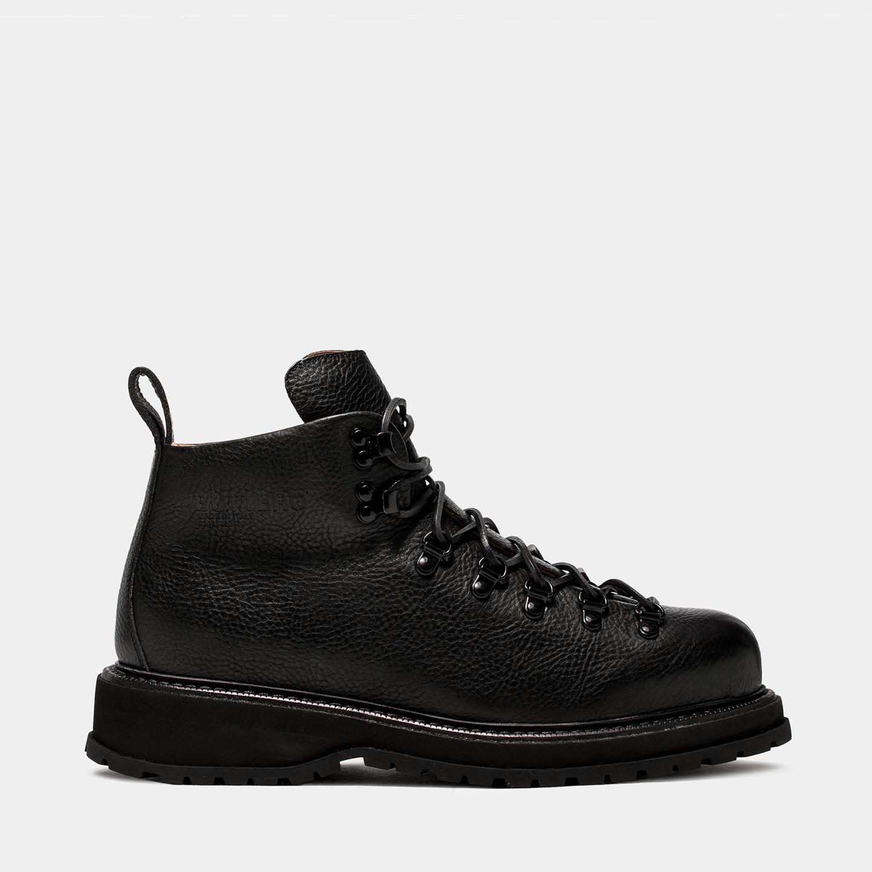 BUTTERO: ZENO HIKING BOOTS IN BLACK COWHIDE