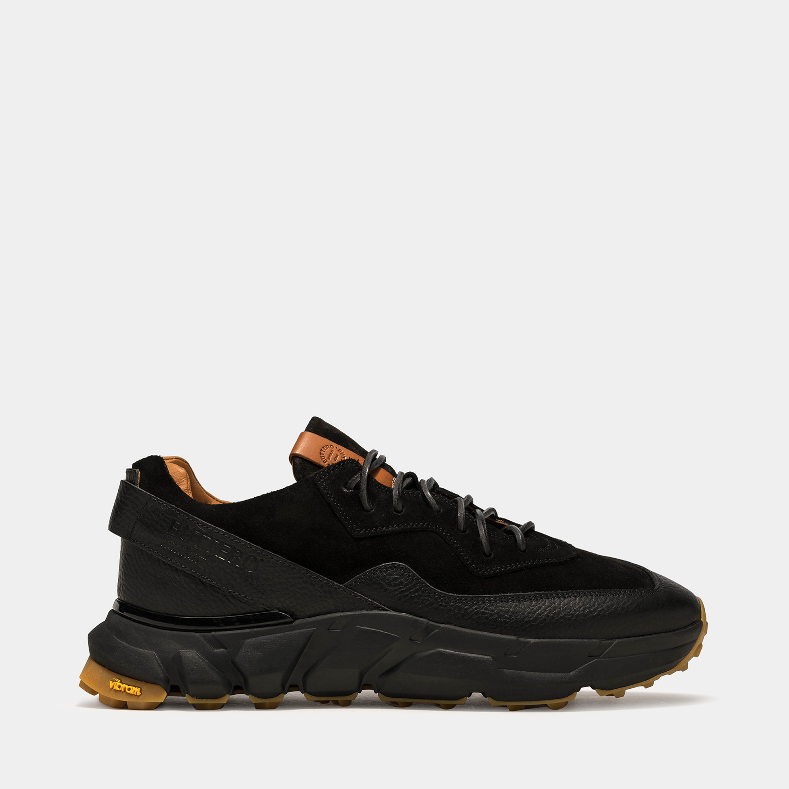 BUTTERO: SPAZIO SNEAKERS IN BLACK LEATHER AND SUEDE