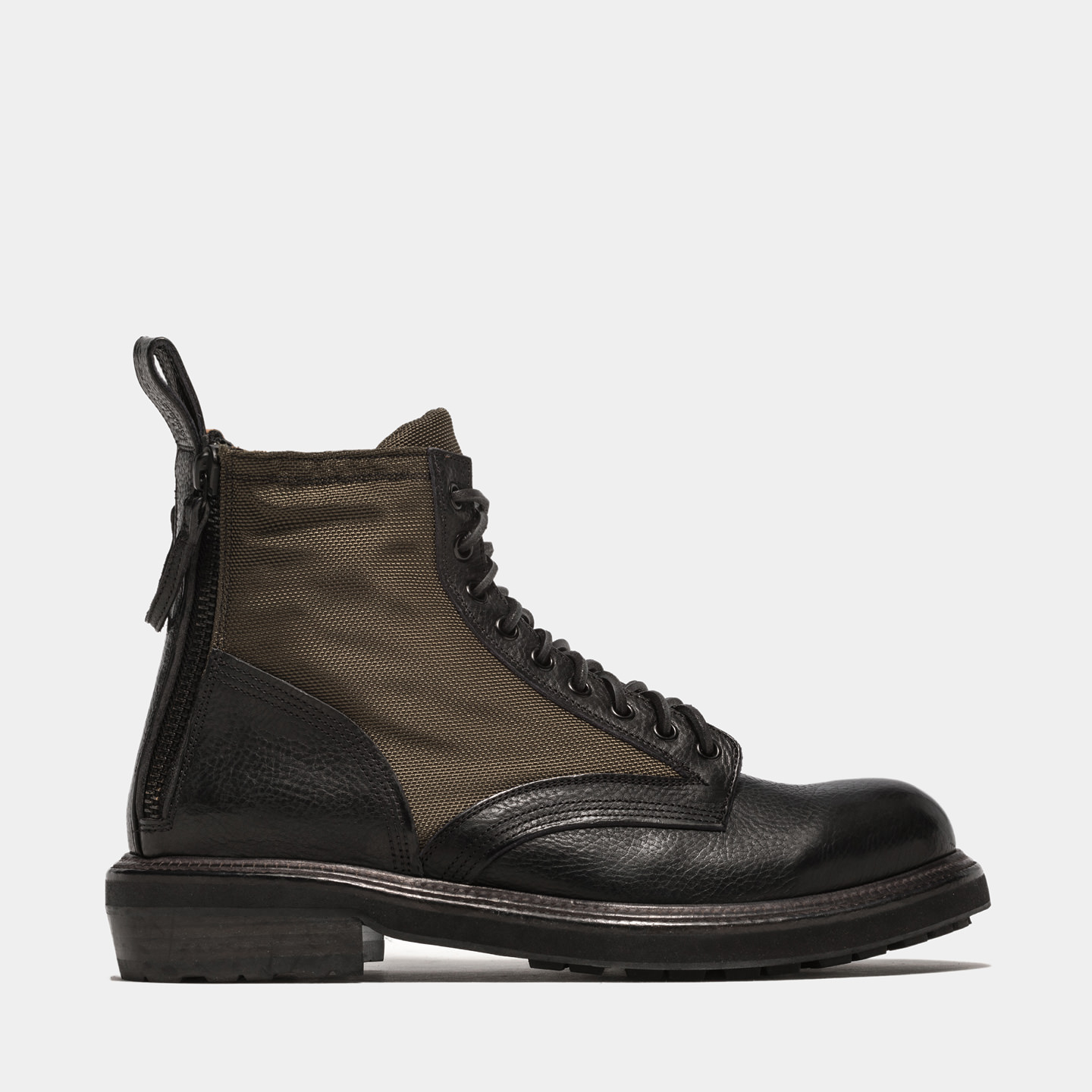 BUTTERO: CARGO ANKLE BOOTS IN NYLON AND BLACK LEATHER