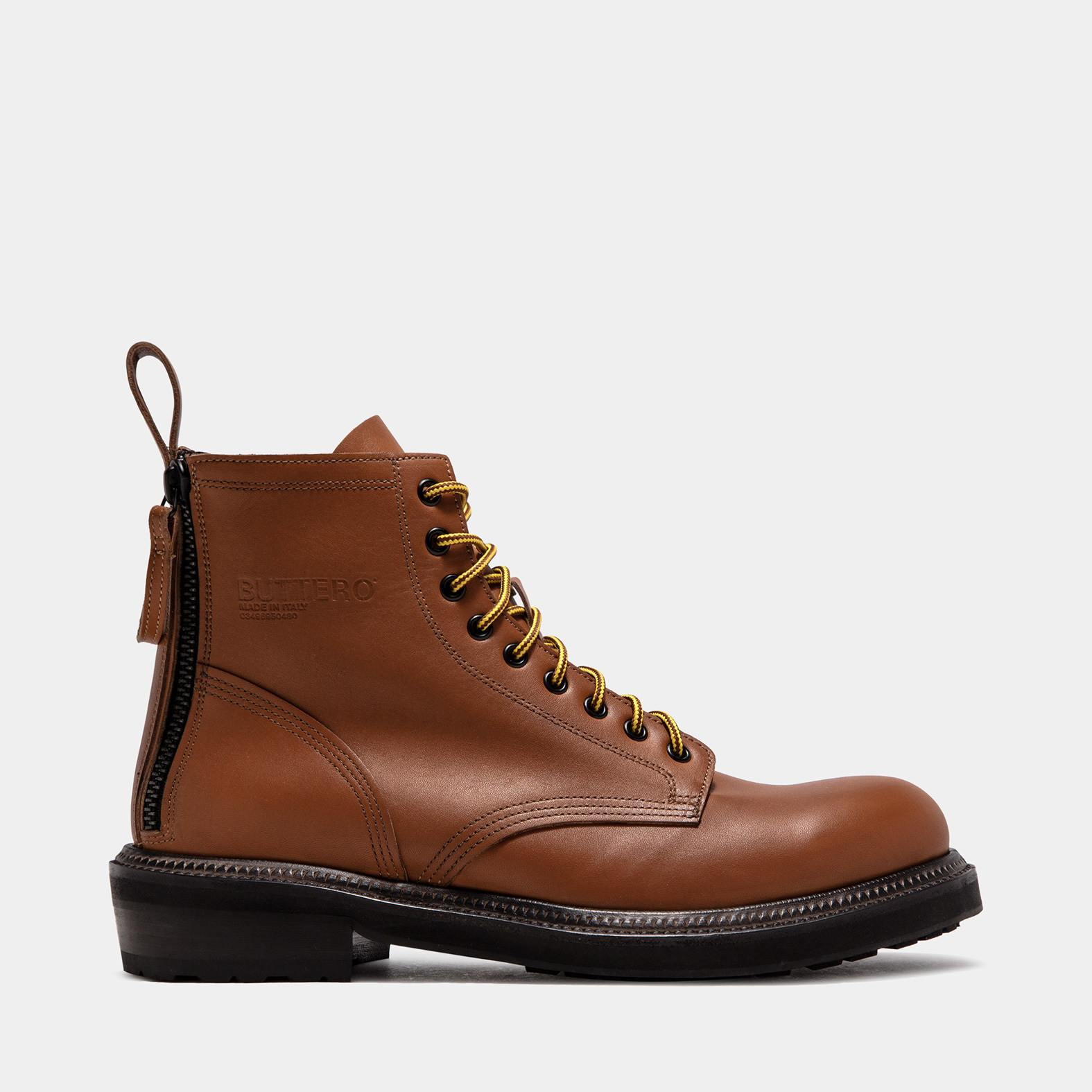 BUTTERO: CARGO BOOTS IN NATURAL BROWN PULL EFFECT LEATHER