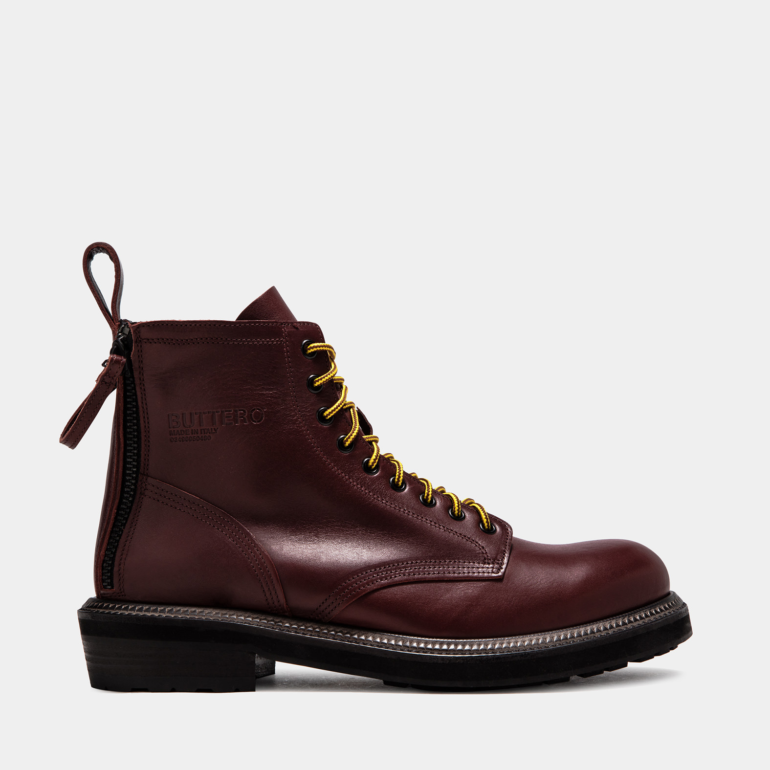 BUTTERO: CARGO BOOTS IN DARK CHILE LEATHER PULL EFFECT LEATHER