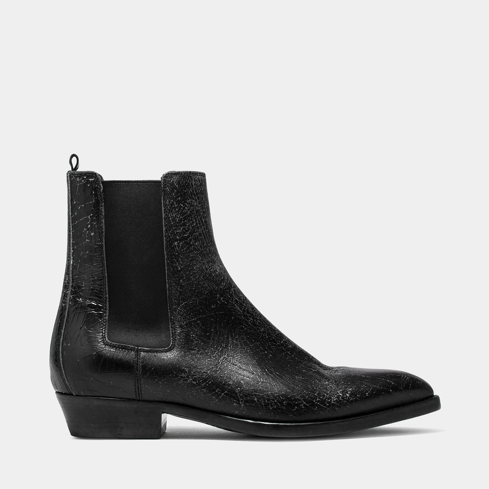 BUTTERO: BLACK CRAKELE LEATHER FARGO ANKLE BOOTS