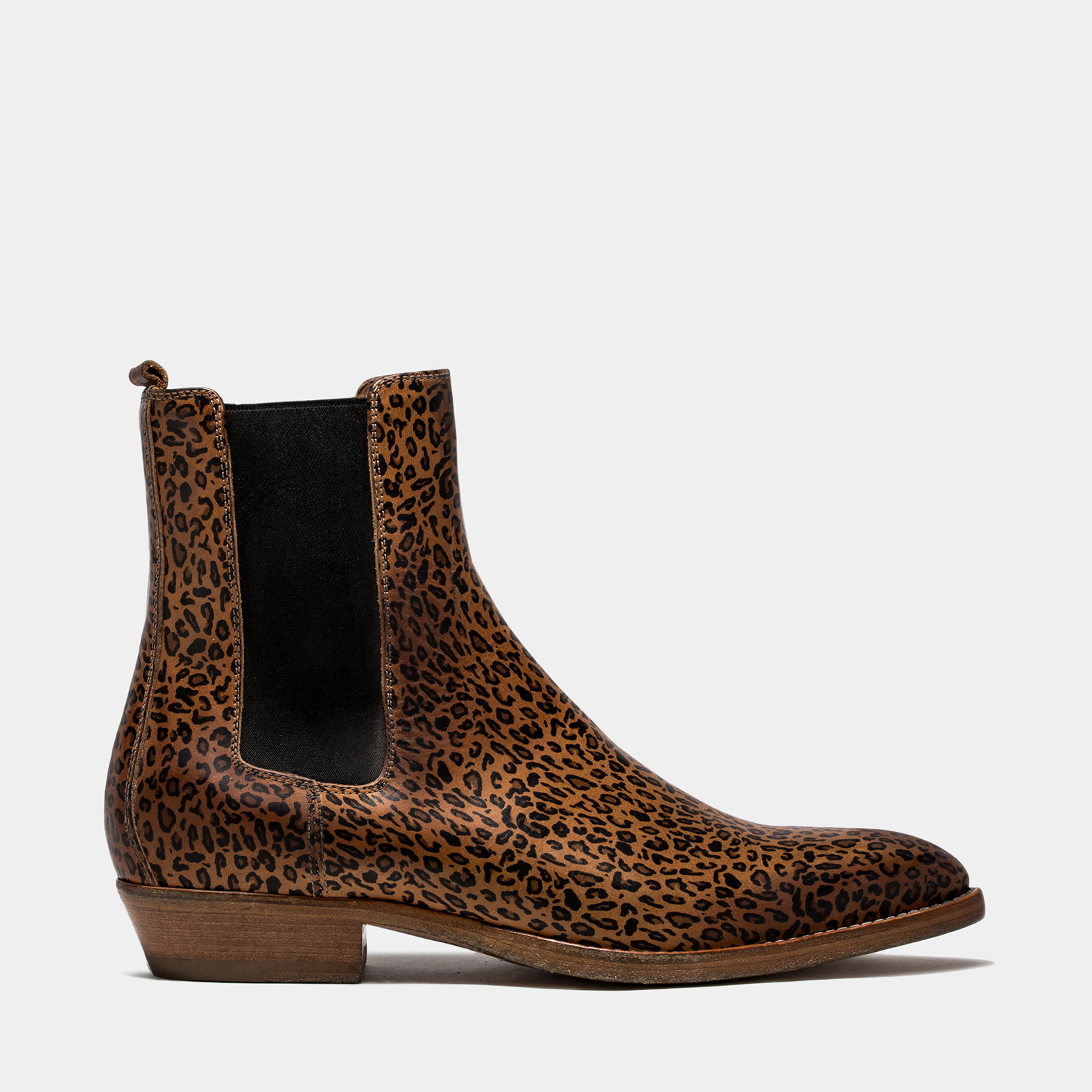 BUTTERO: NATURAL BROWN LEATHER FARGO ANKLE BOOTS WITH LEOPARD PRINT