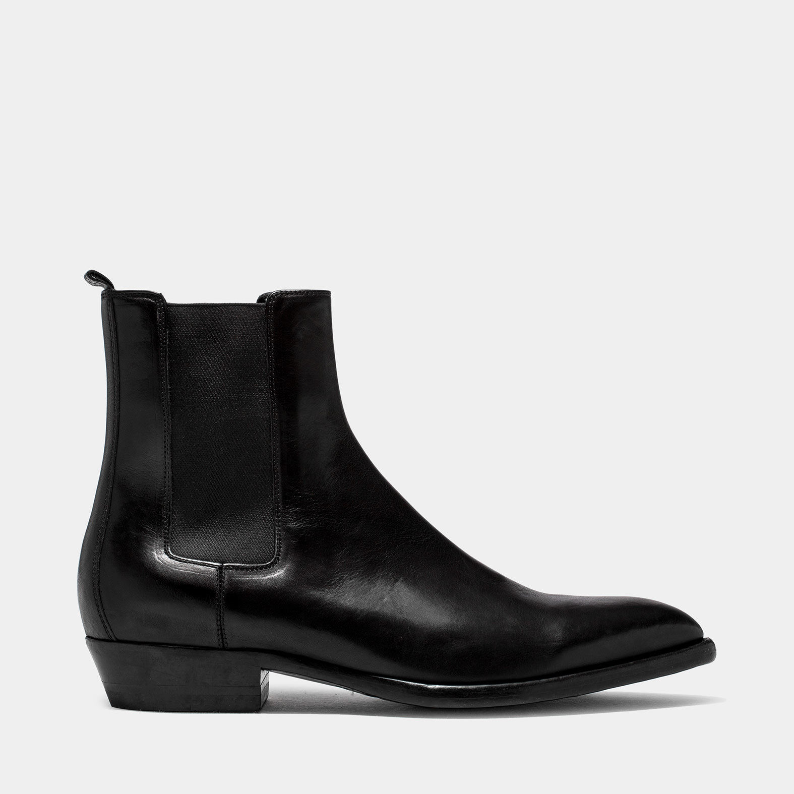 BUTTERO: FARGO ANKLE BOOTS IN BLACK WASHED LEATHER