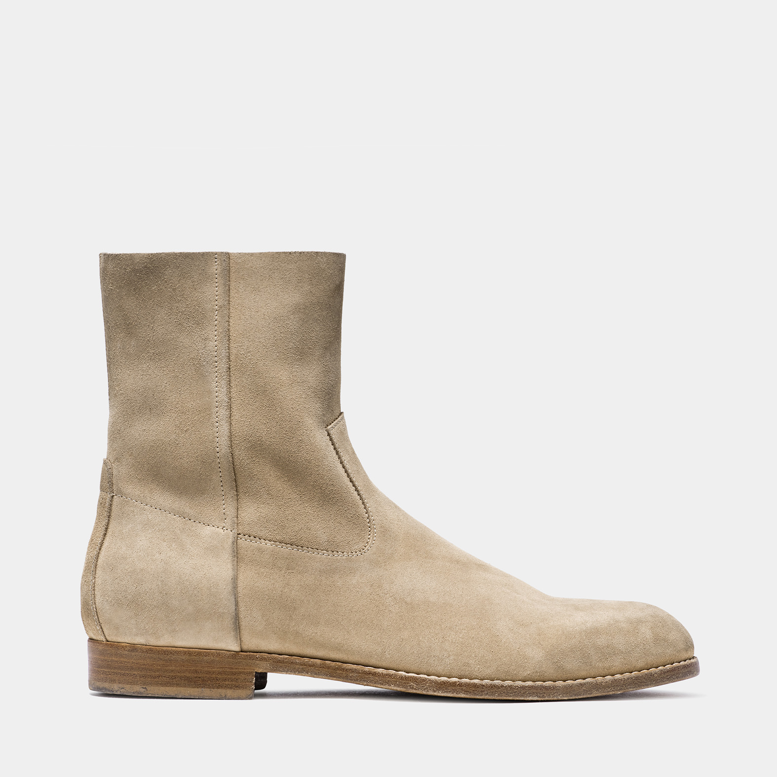 BUTTERO: CAPPUCCINO SUEDE FLOYD ANKLE BOOTS