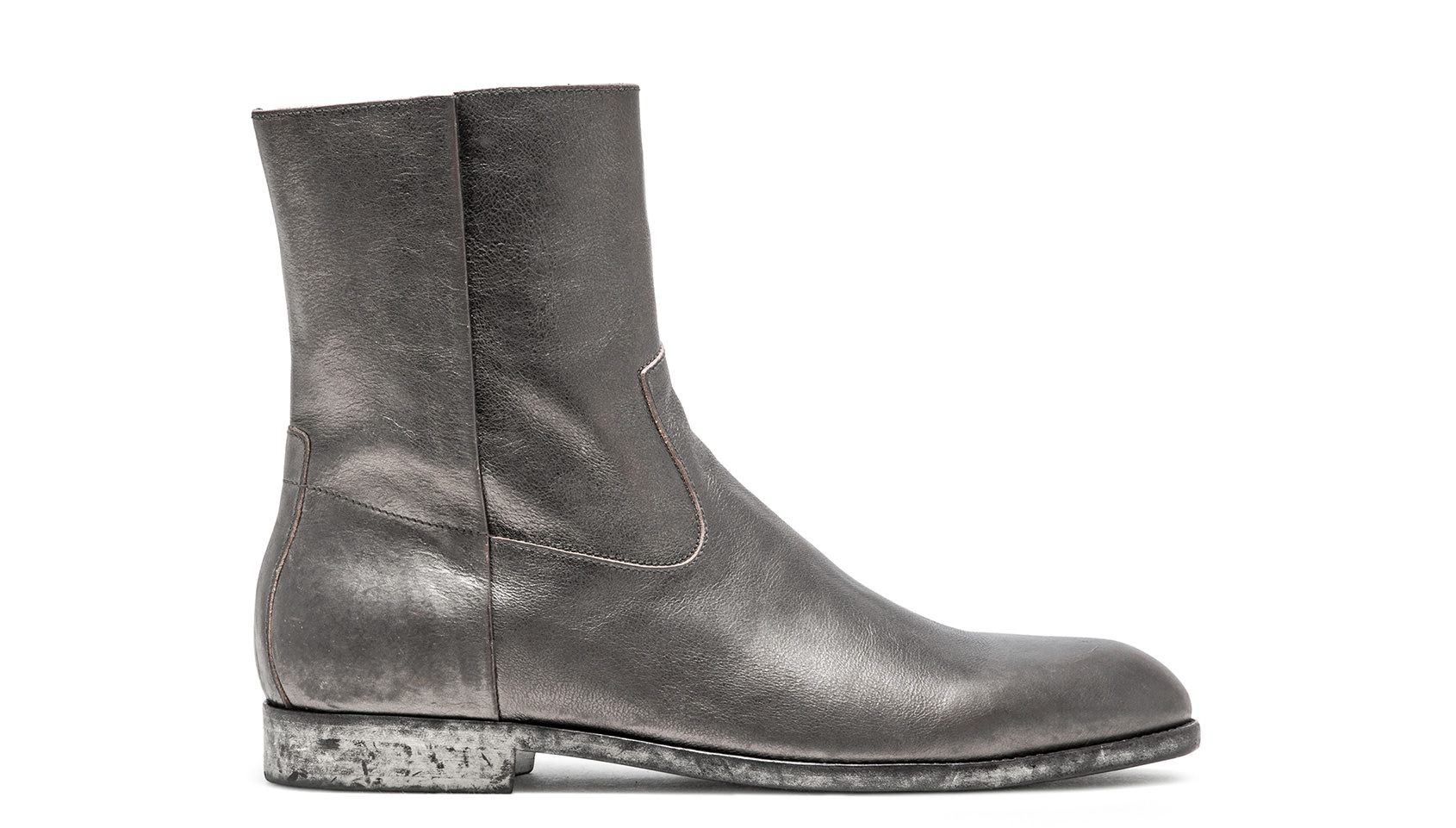 BUTTERO: FLOYD ANKLE BOOTS IN GRAPHITE LEATHER