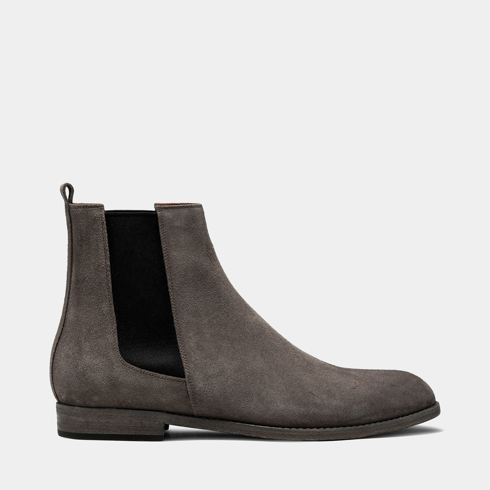 BUTTERO: FLOYD ANKLE BOOTS IN TAUPE GRAY SUEDE