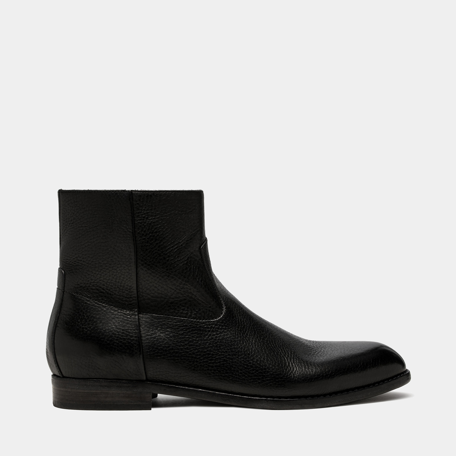 BUTTERO: FLOYD ANKLE BOOTS IN BLACK COWHIDE