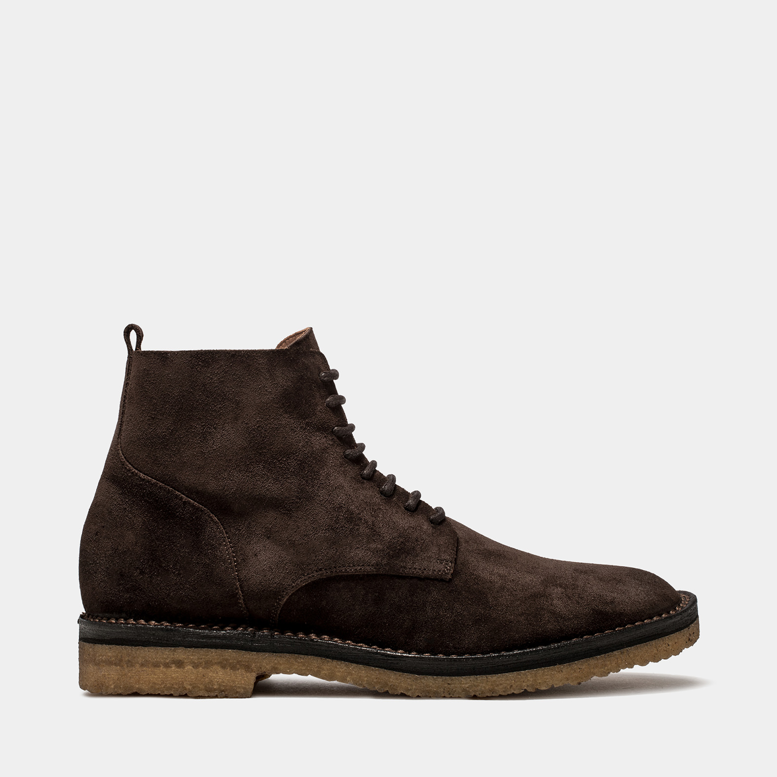 BUTTERO: SUEDE IDEA LACE UP BOOTS COLOR DARK BROWN