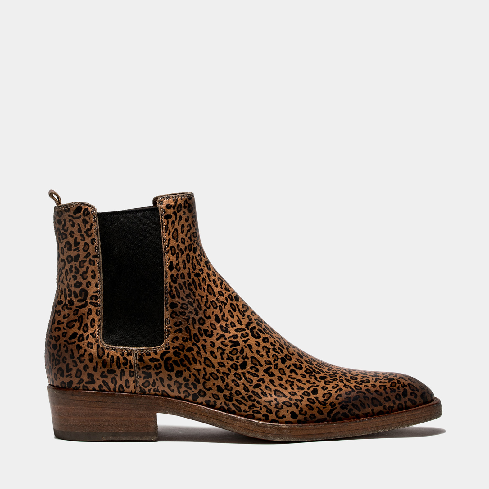 BUTTERO: NATURAL BROWN LEATHER QUENTIN BOOTS WITH LEOPARD PRINT