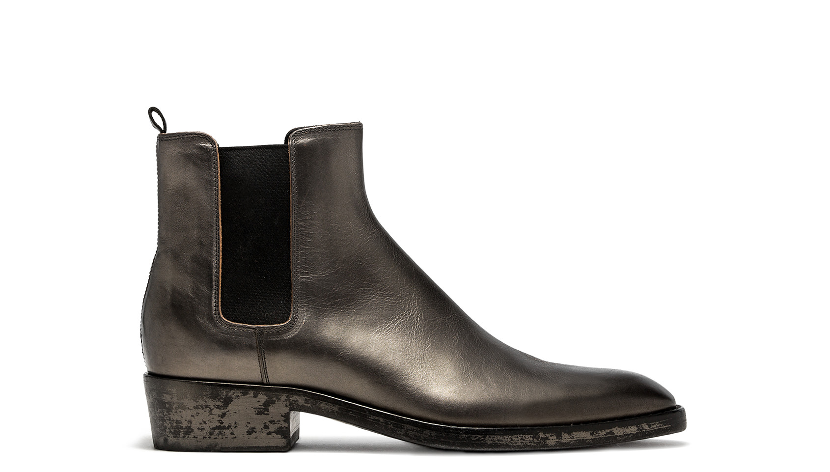 BUTTERO: SILVER LAMINATED LEATHER QUENTIN BOOTS