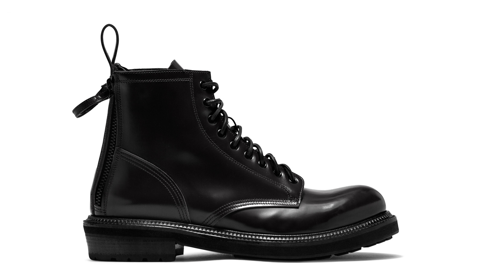 BUTTERO: CARGO LACE UP BOOTS IN BLACK LEATHER