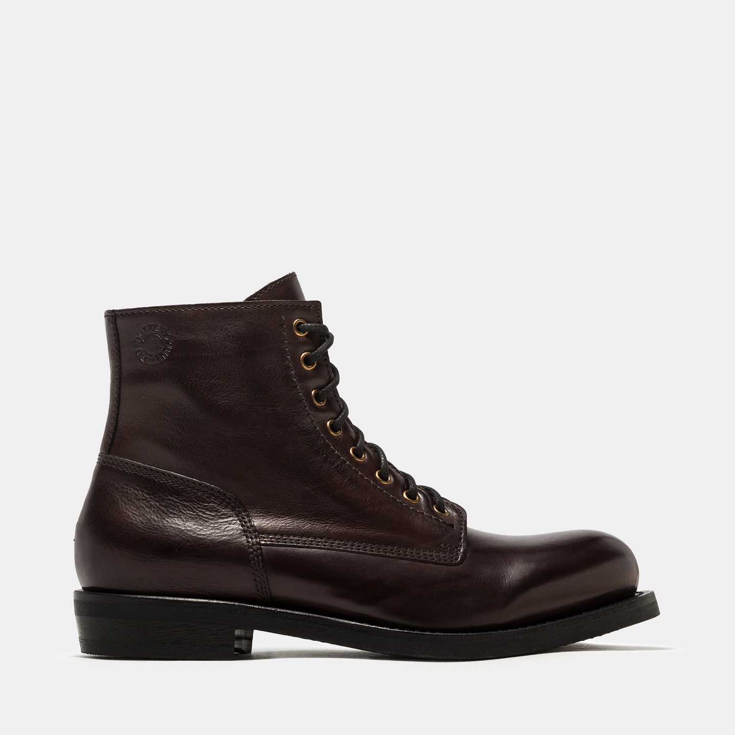 BUTTERO: DARK BROWN T.BONE HIGH-LACED BOOTS