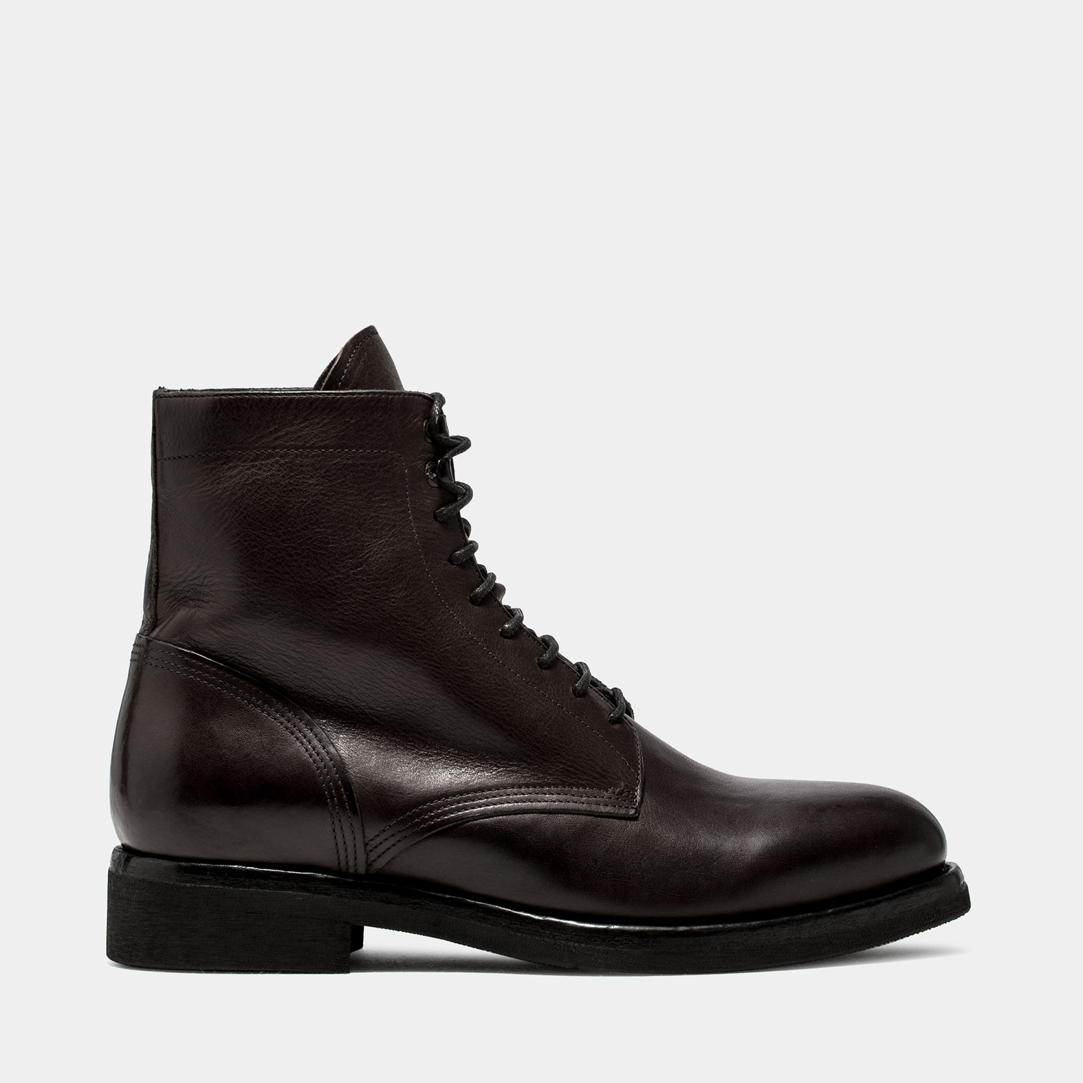 BUTTERO: TOM ANKLE BOOTS IN DARK BROWN WASHED LEATHER