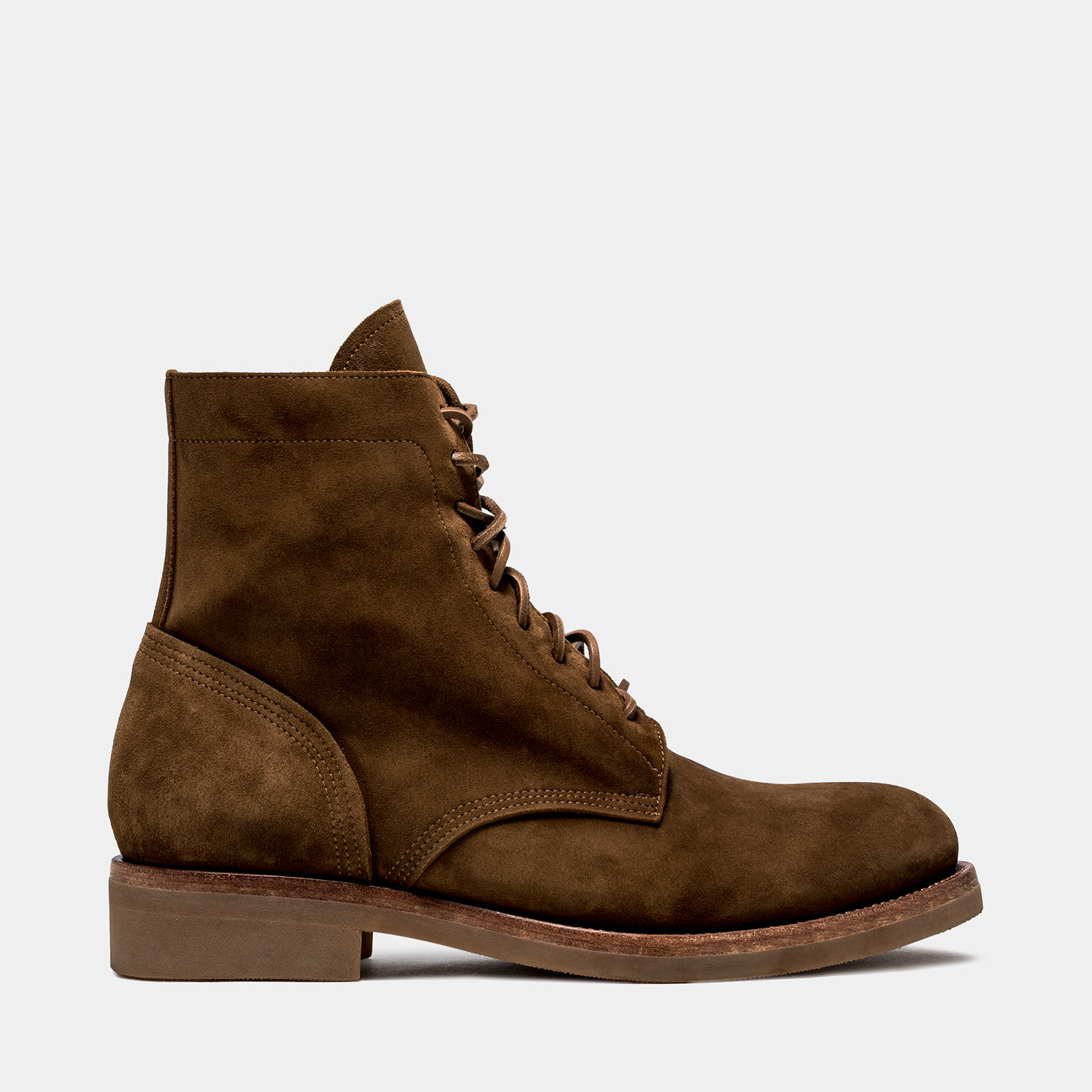 BUTTERO: CIGAR BROWN SUEDE TOM LACE UP BOOTS