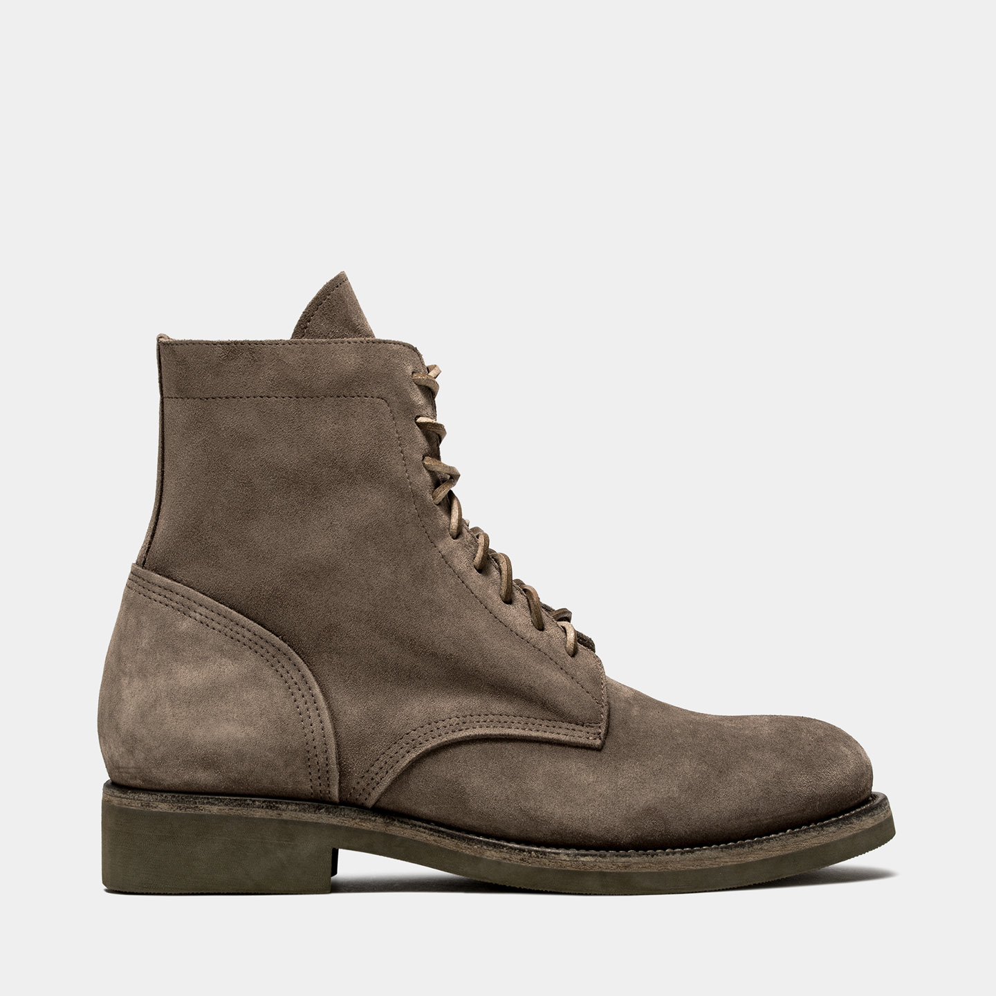 BUTTERO: TAUPE GRAY SUEDE TOM LACE UP BOOTS