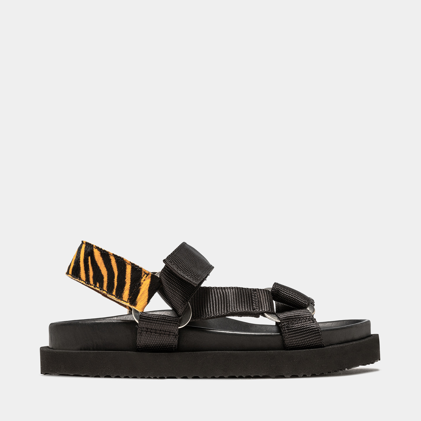 BUTTERO: ROULOTTE SANDALS IN NYLON AND PONY SKIN