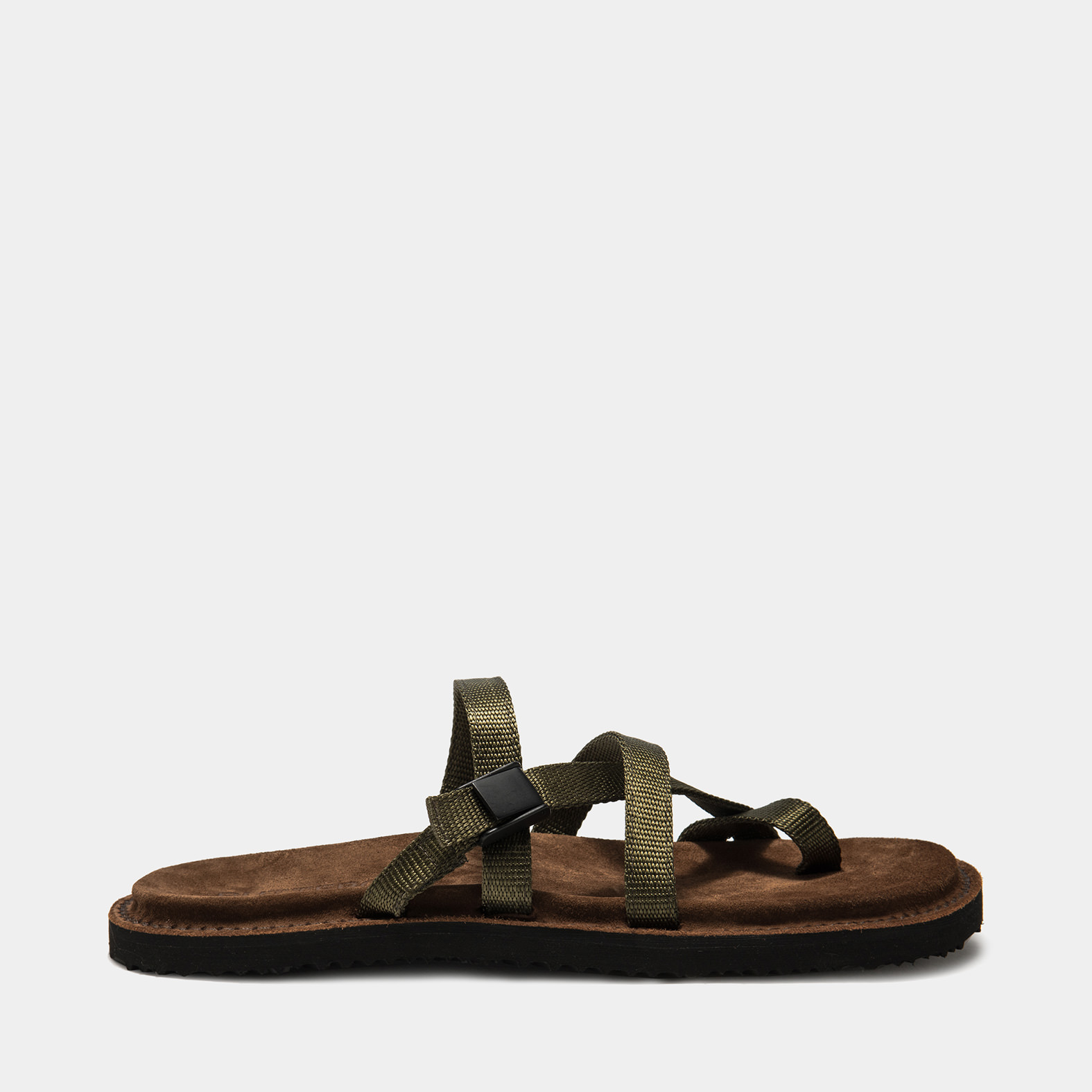BUTTERO: EL FUSO SANDALS IN CIGAR BROWN SUEDE AND NYLON