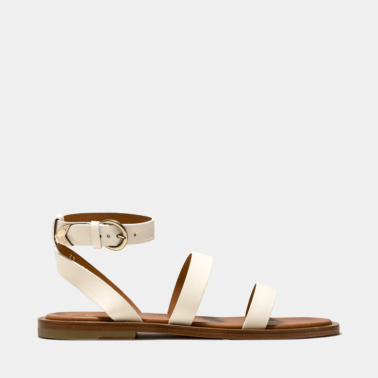 BUTTERO: VICKY SANDALS IN CREAM WHITE LEATHER