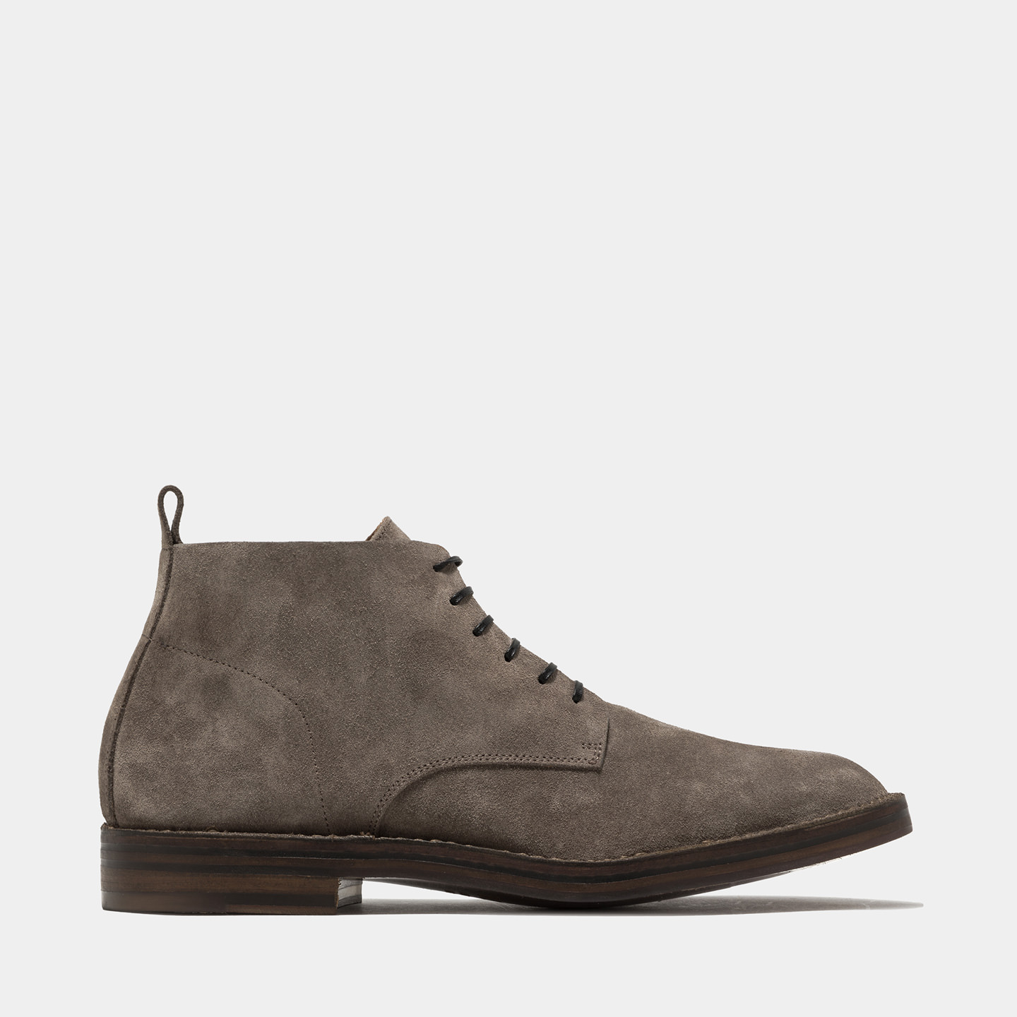 BUTTERO: TAUPE SUEDE HIGH-LACED BOOTS