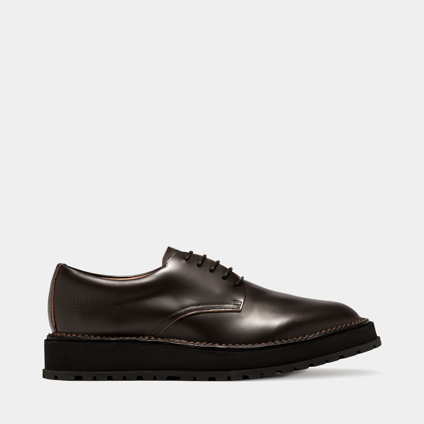 BUTTERO: AEDI DERBY SHOES IN DARK BROWN BRUSHED LEATHER