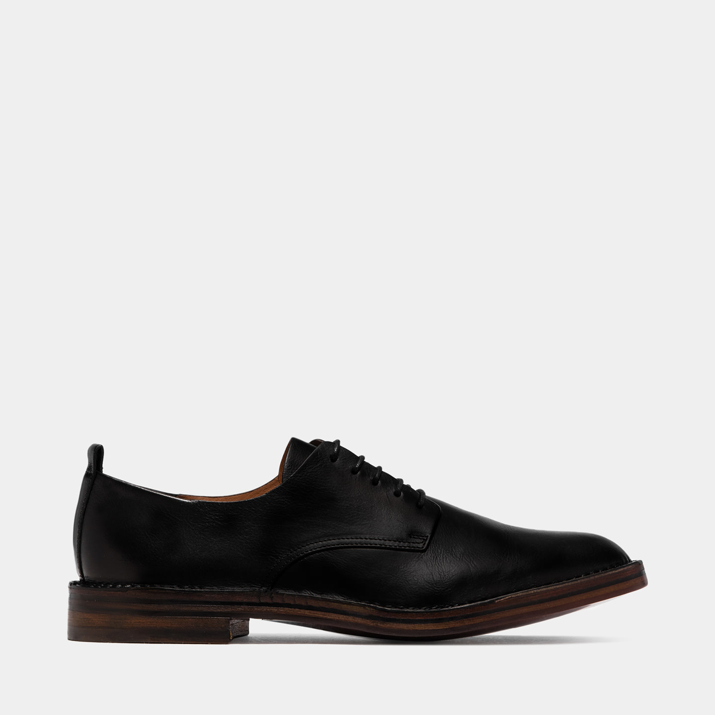 BUTTERO: BLACK LEATHER LACE-UP IDEA SHOES