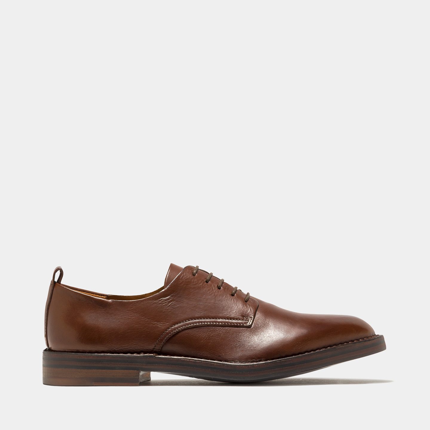 BUTTERO: NATURAL BROWN LEATHER LACE-UP SHOES