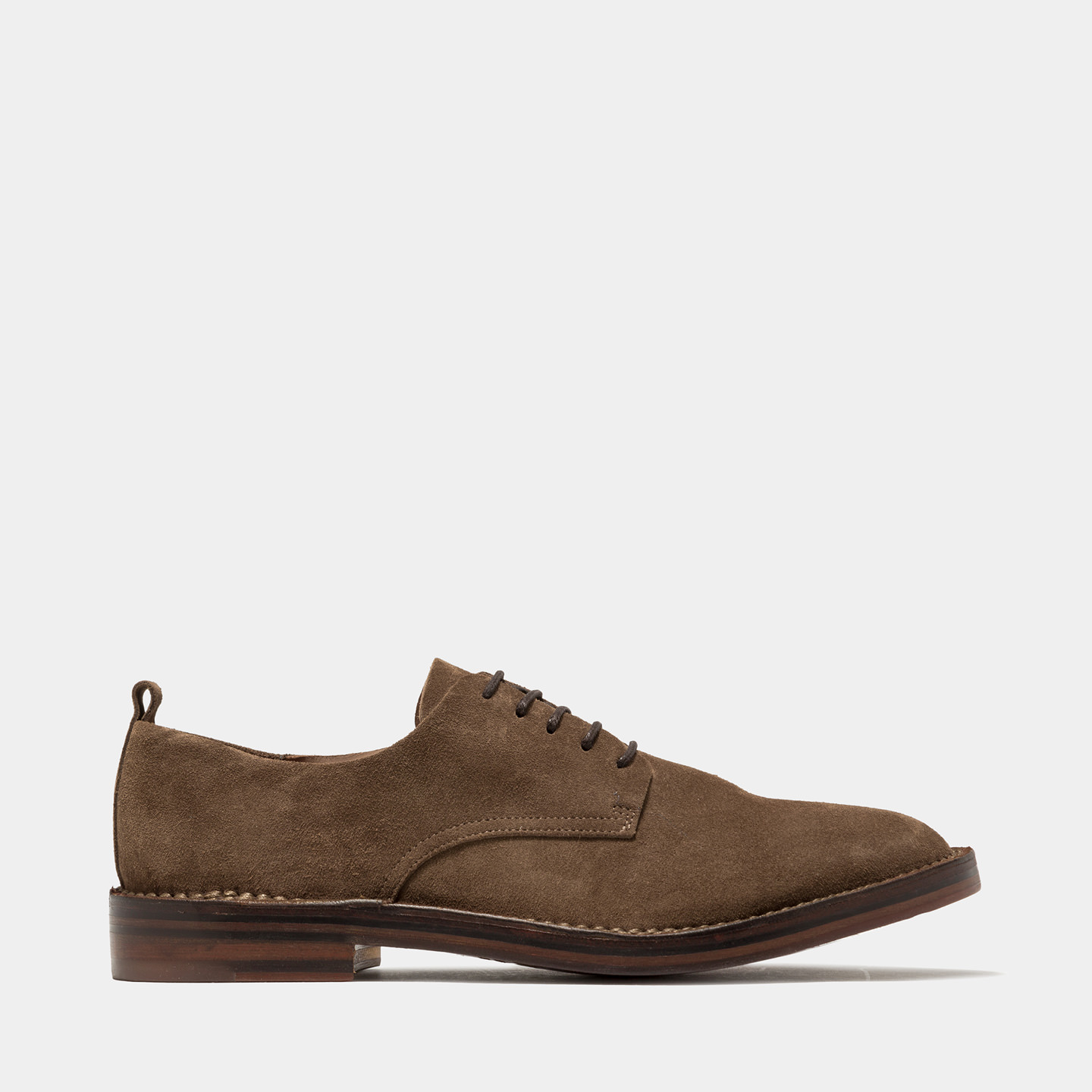 BUTTERO: SUEDE IDEA LACE-UP SHOES COLOR TOBACCO